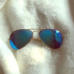Ray Ban blue polarized sunglasses gold frames